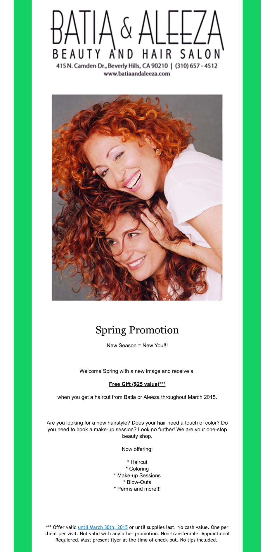 Monthly Specials Hair Salons In Los Angeles Curly Hair Products